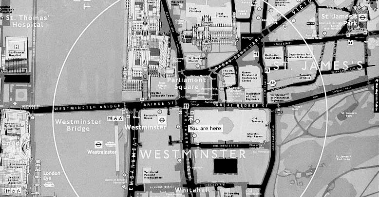 Los mapas y la señalización peatonal urbana bien diseñada aportan seguridad al caminar